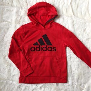 Adidas Red Black logo Boys 10/12  Hoodie Jacket M